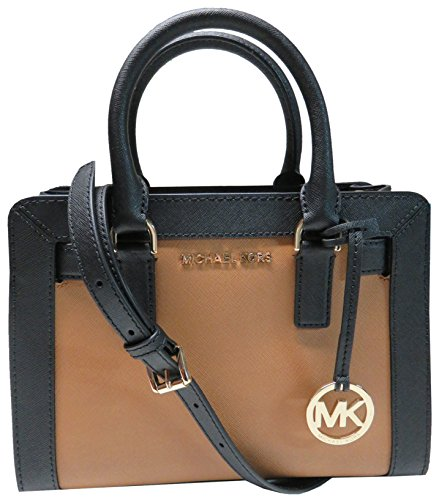 Michael Kors Dillon Top Zip Saffiano Leather Small Satchel Acorn/Black