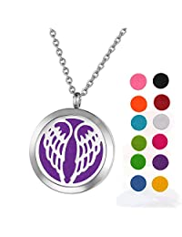 Stainless Steel Aromatherapy Essential Oil Diffuser Necklace with Angel Wings for Women,Silver Tone