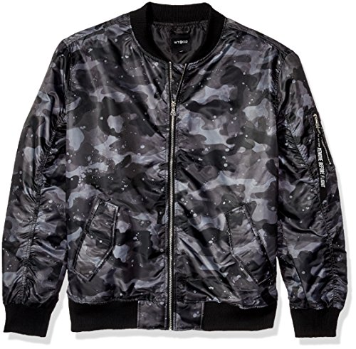 Camo Bomber - WT02 Men's Lightweight Ma-1 Bomber Jacket in Solid and Camo, Grey/Black, X-Large
