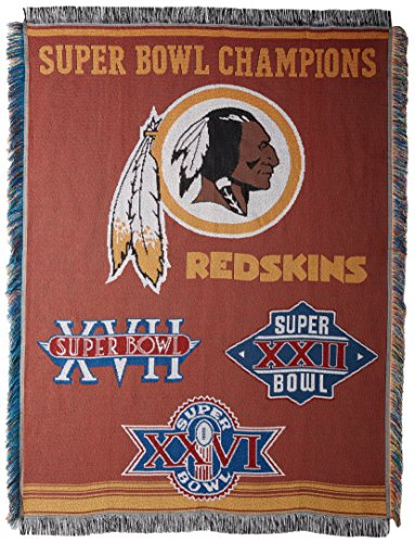 Officially Licensed NFL Washington Redskins Commemorative Woven Tapestry Throw Blanket, 48