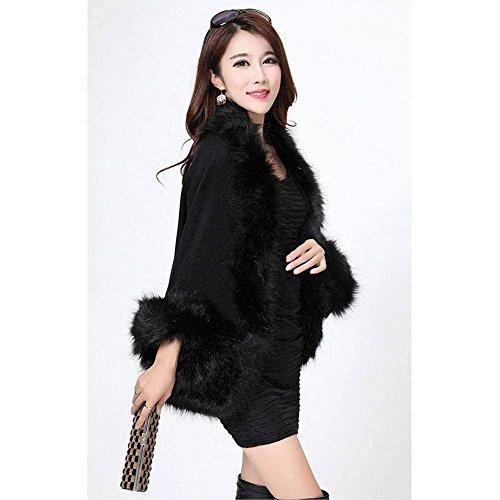 Elegante Donna Pelliccia Giubbino Haidean Outerwear Lunghe Invernali Glamorous Schwarz Maniche Cappotto Hot Giacca Semplice Sintetica Corto BABqtw5