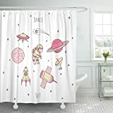 Best Planet Dog Dog Whistles - Emvency Shower Curtain Space Cosmonaut Satelites Rocket Planets Review