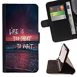 DEVIL CASE - FOR Apple Iphone 5C - Life Too Short To Wait Spontaneity Quote - Style PU Leather Case Wallet Flip Stand Flap Closure Cover