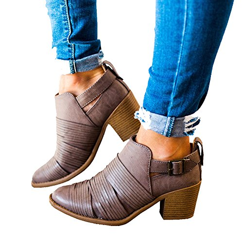 Younsuer Women Ankle Bootie Autumn Winter Chunky Block Low Heel Strap Buckle Striped Chelsea Round Toe Faux Ankle Boots (Striped Booties)