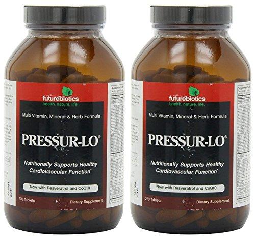 Futurebiotics Organics Pressur-Lo (Pack of 2) with Vitamin A, C, D, B6, B12, Thiamin, Riboflavin, Niacin, Calcium, Magnesium, Zin, Selenium and Potassium, 270 Tablets Each
