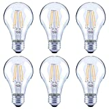 Asencia AN-03666 40 Watt Equivalent A19 Clear All Glass Vintage Filament Dimmable LED Light Bulb, Soft White, 6-Pack, 2700K