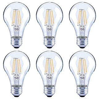 Asencia AN-03672 60 Watt Equivalent A19 Clear All Glass Vintage Filament Dimmable LED Light Bulb, Daylight, 6-Pack, 4-Pack, Soft White