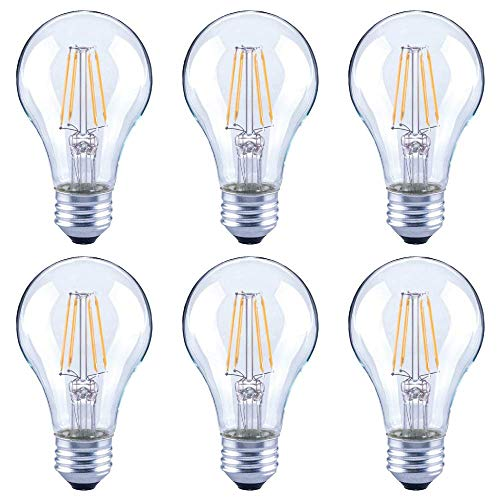 Asencia AN-03672 60 Watt Equivalent A19 Clear All Glass Vintage Filament Dimmable LED Light Bulb, Daylight, 6-Pack,