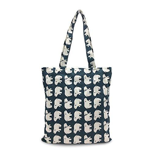 Mziart Cute Canvas Tote Stylish Shoulder Hand Bag Casual Shopping Bag Zipper Foldaway Travel Bag (Polar Bear)