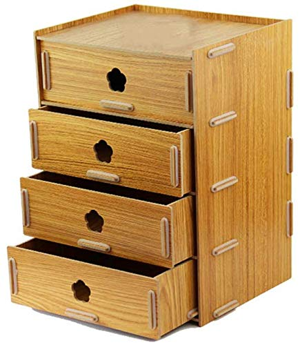 SED Office File Cabinet,Home Storage Bookcases,Creative Desk Surface Wooden Multi-Layer Document Data Cabinet Multi-Function Sorting Display Stands Space Saving,Teak Color by SED