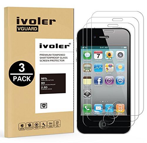 [3 Pack] Pellicola Vetro Temperato iPhone 4 / 4S, iVoler® ** [Protezione Antigraffi] **Anti-riflesso Ultra-Clear** Ultra resistente in Pellicola iPhone 4 / 4S, Pellicola Protettiva Protezione Protetto