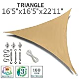 SUNNY GUARD 16'5'' x 16'5'' x 22'11'' Sand Triangle Sun Shade Sail UV Block with Stainless Steel Hardware Kit for Outdoor Patio Garden