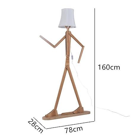 QIANGUANG Moderno lámpara de pie Creativo Original Madera 1.6 m de Madera Decoración del hogar Luz de pie para Sala de Estar y Dormitorio (Marrón ...