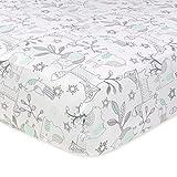 Just Born 100% Cotton Fitted Crib Sheets, Woodland Friends Aqua