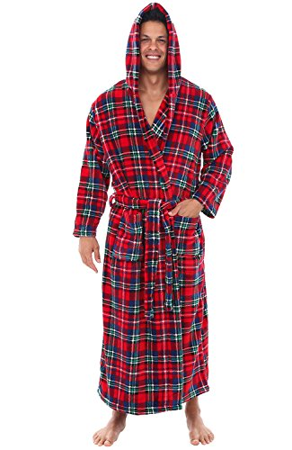 Alexander Del Rossa Mens Fleece Robe, Long Hooded Bathrobe, Large XL Blue Red and Green Plaid (A0125Q19XL) by Alexander Del Rossa