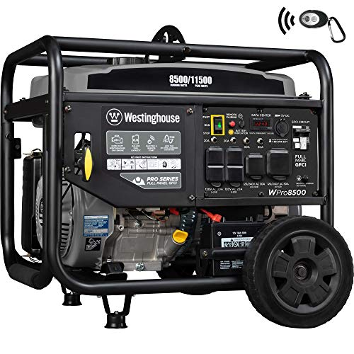 Westinghouse WPro8500 Super Duty Industrial Gas Powered Remote Electric Start Portable Generator, 8500 Running Watts & 11500 Peak Watts, Gray Westinghouse