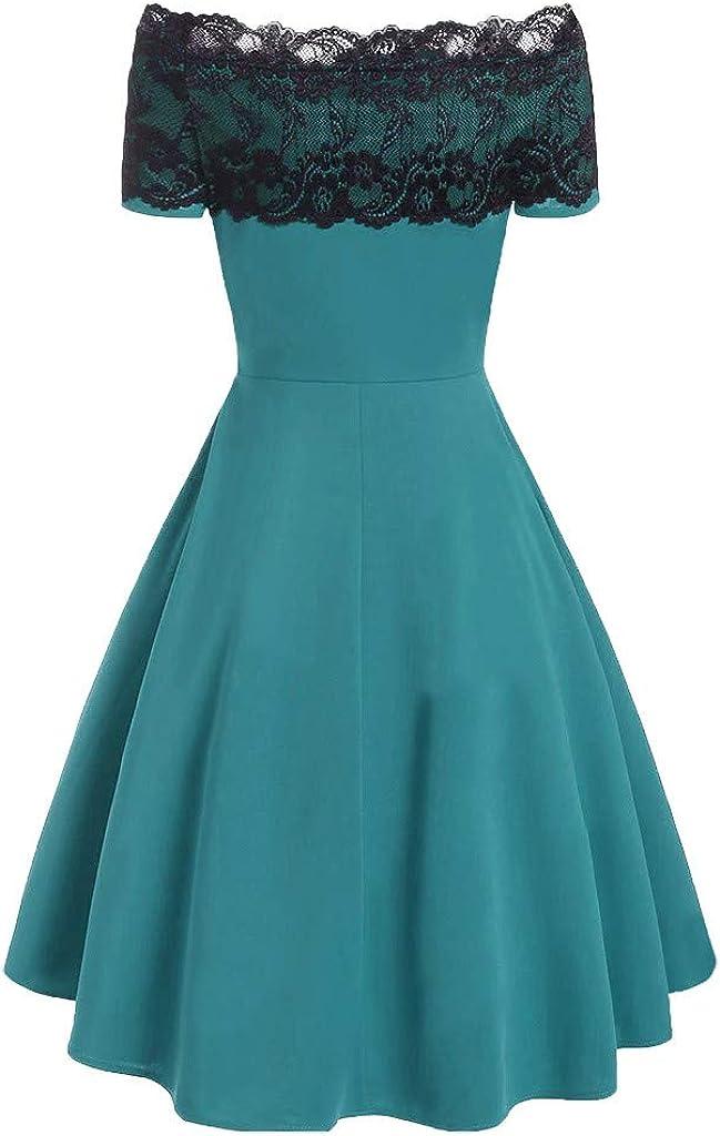 Women Off The Shoulder Dress Lace Splicing Button Pleated Hem A-line Dresses
