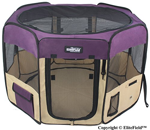 EliteField 2-Door Soft Pet Playpen, Exercise Pen, Multiple Sizes and Colors Available for Dogs, Cats and Other Pets (62″ x 62″ x 24″H, Purple+Beige)