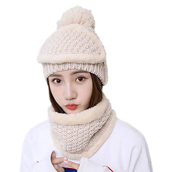 0d47d96e9 Zoylink Winter Hat Warm Wool Knitted Hat Beanie Cap with Scarf ...