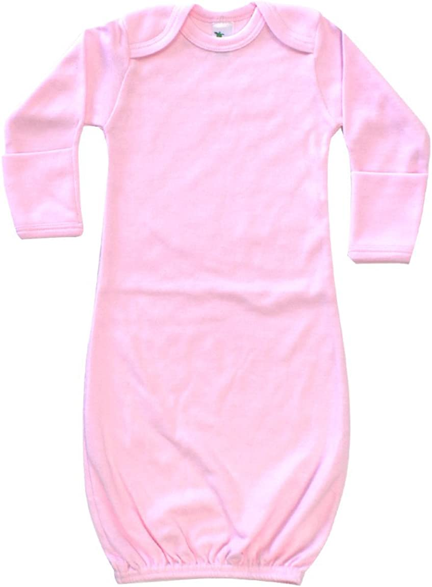Laughing Giraffe Baby Infant Blank Long Sleeve Sleeper Gown With Mitten Cuffs - Pink (0-3 Months -3850)