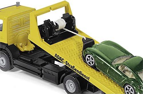 Siku 2712, Abschleppwagen, 1:55, Metall/Kunststoff, ADAC-Optik, Inkl. abzuschleppendem Spielzeugauto, Gelb