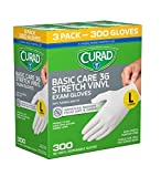 Disposable Basic Care 3G Stretch Vinyl Exam Gloves - Latex Free, Medical Grade, Non-Sterile, Powder Free (Large) (3X 100 Pack)