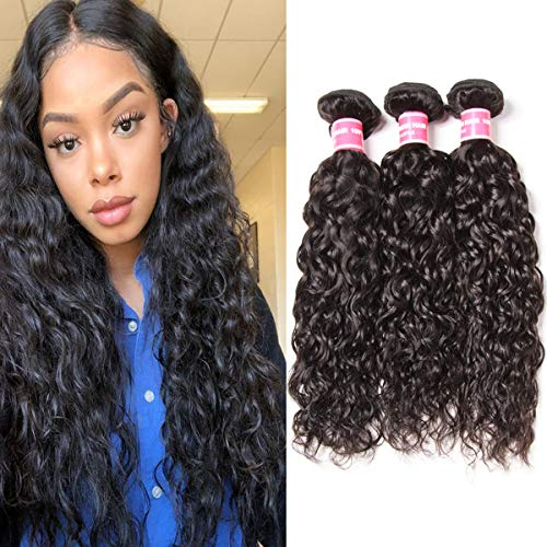 Longqibeauty Brazilian Water Wave Virgin Hair 3 Bundles Remy Human Hair Weave Double Weft 300g Natural Color (14 16 18 Inches)