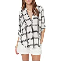 CA Modo las mujeres el trabajo de oficina Plaids Camisa Cuadros Blusa Cuello de pico Carrera parte superior Loose