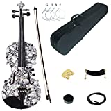 Kinglos 4/4 Black White Skull Colored Solid Wood Acoustic/Electric Violin Kit with Ebony Fittings Full Size (YSDS1312)