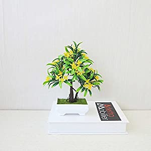 FYYDNZA 5 Colors Welcoming Pine Bonsai Simulation Decorative Artificial Flowers Green Pot Plants For Party Home Table Decor,A1 66