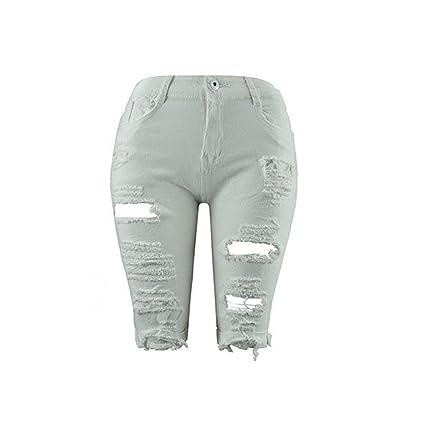Mujeres pantalones mujeres toamen vaqueros Denim Jeans agujero ...