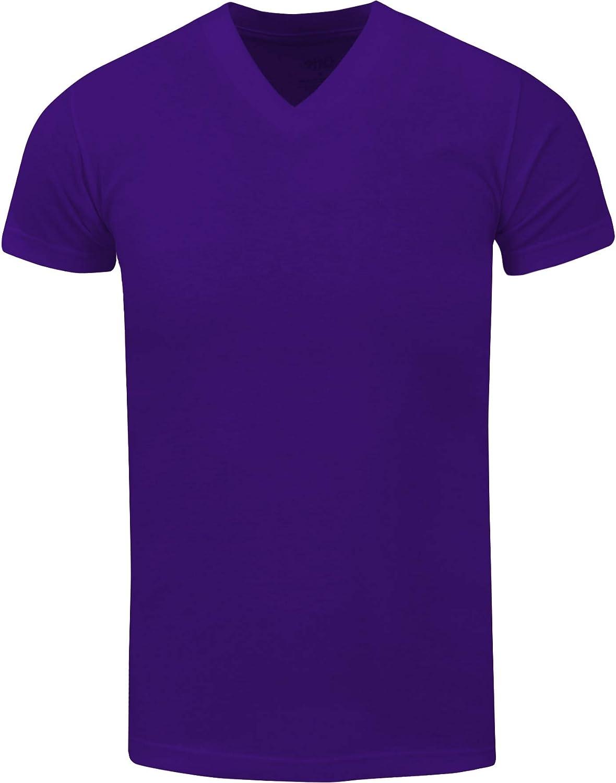 Men's Heavyweight Cotton T Shirt – Basic 6.2 Ounce Short Sleeve V Neck Plain Tee Top Tshirts Regular Big and Tall Size