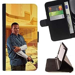 BullDog Case - FOR/HTC One M8 / - / G T A - Franklin Poster /- Monedero de cuero de la PU Llevar cubierta de la caja con el ID Credit Card Slots Flip funda de cuer