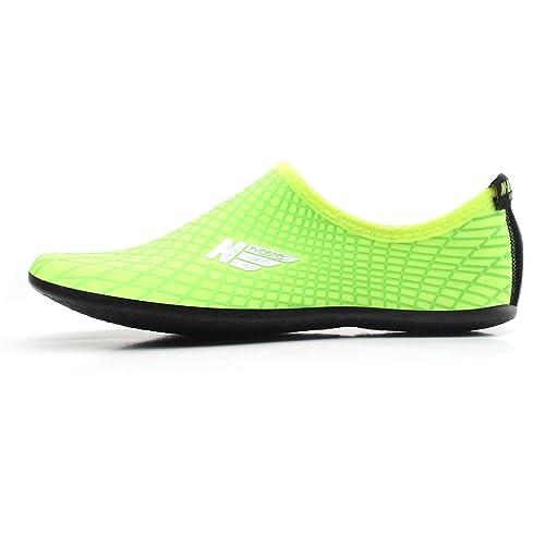 WOWFOOT agua deportes piel zapatos adultos Kids Slip On Aqua descalzo playa calcetines surf piscina resistente suela: Amazon.es: Zapatos y complementos