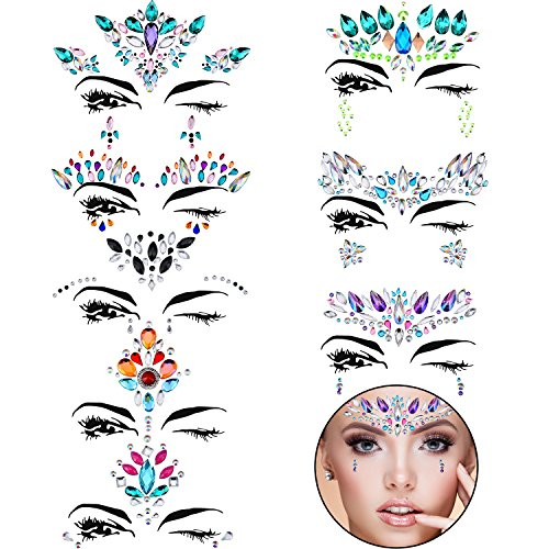 Jem Halloween Costume (TOODOO 8 Sets Face Gems Rhinestone Colorful Sticker Tattoo Jewelry Stick on Face Festival Jewels for Forehead Body Decorations (Style)