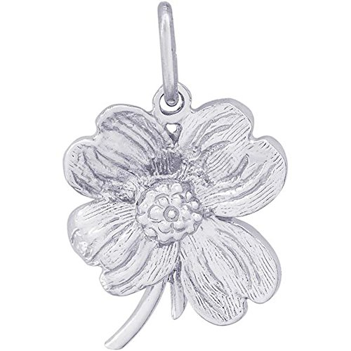 (STERLING SILVER DOGWOOD FLOWER CHARM OR PENDANT)