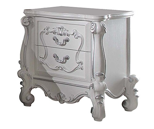 Antique White Wood Nightstand (ACME Versailles Antique White Nightstand)