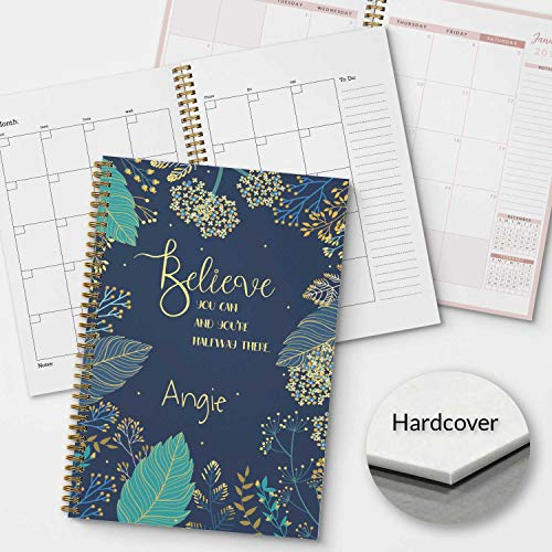 HARDCOVER Believe You Can Personalized Inspirational Monthly and Weekly Planner and Organizer, 1 full year, DATED or UNDATED OPTION, Soft Cover, lay flat wire-o spiral binding, Available in 2 sizes. -