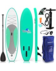 SereneLife Inflatable Stand Up Paddle Board (6 Inches Thick) Universal SUP Wide Stance w/Bottom Fin for Paddling and Surf Control   Non-Slip Deck   Youth and Adult