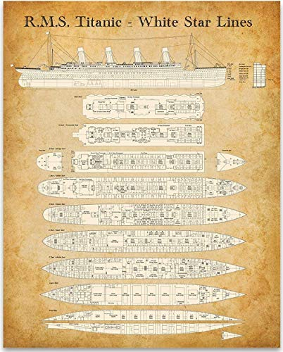 (R. M. S. Titanic - White Star Lines Deck Plan - 11x14 Unframed Patent Print - Great Gift Under $15 for People Who Are Fascinated by The Titanic)