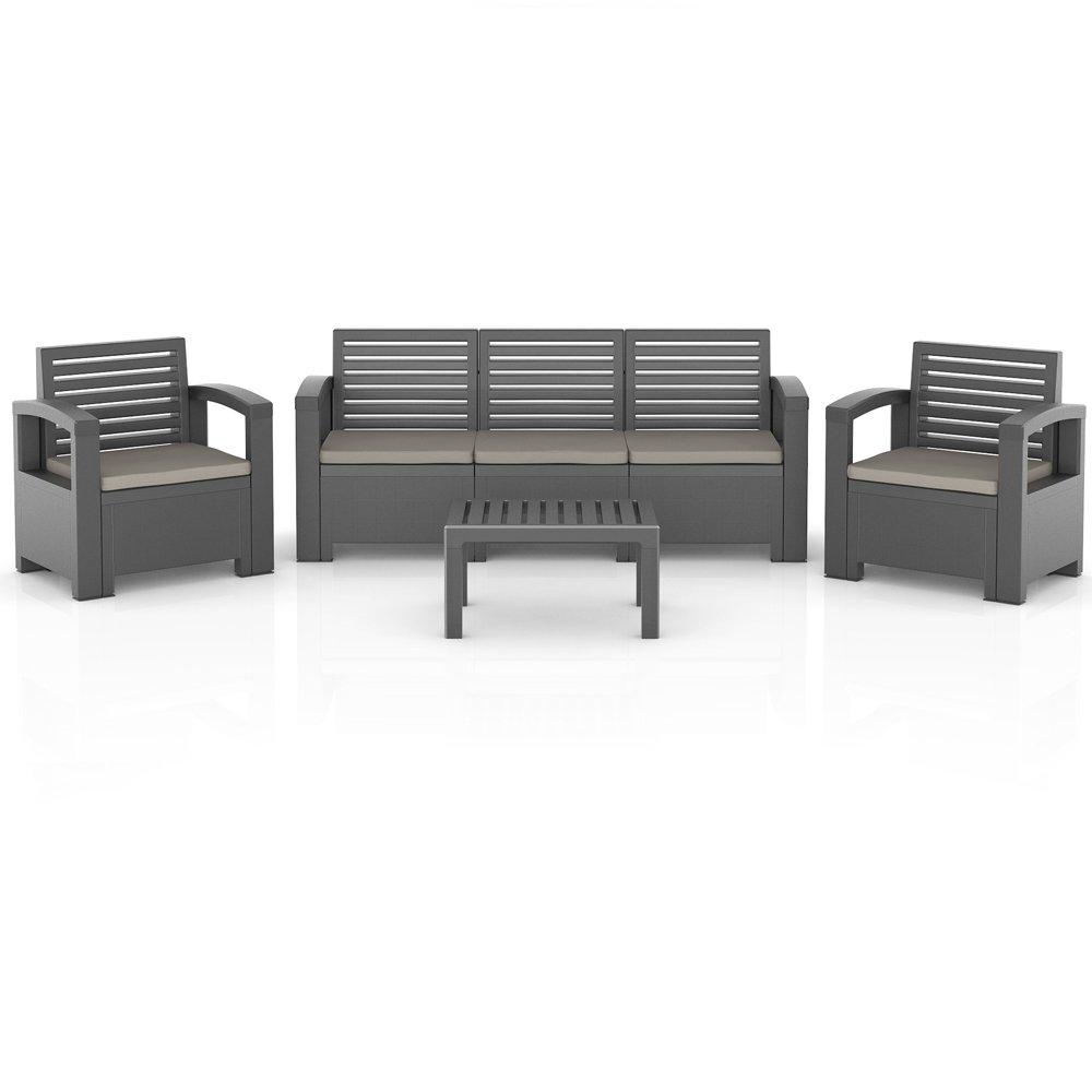 BICA Nevada Garten Möbel Lounge Sitz Gruppe Garnitur Set Kunststoff anthrazit