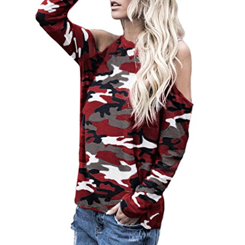 NEARTIME Clearance Women Tops Spring/Autumn Women Off Shoulder Camouflage Long Sleeve Blouse T-Shirt (Japanese Camo)