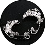 Handmade Ear Cuffs,Pearl Flower Fairy Cosplay Clip On Earrings Jewelry (White)