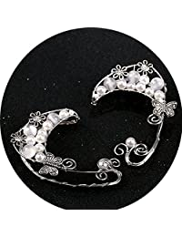 Handmade Ear Cuffs,Pearl Flower Filigree Fairy Cosplay Clip On Earrings Jewelry