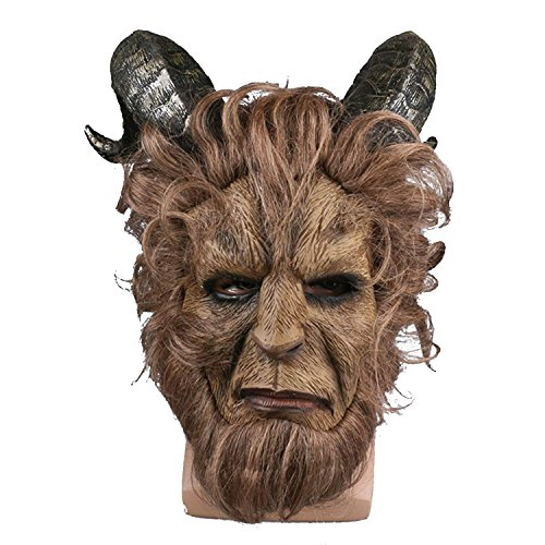 PONGONE Beast Mask Halloween Xmas Halloween Cosplay Prop Beast Horns Faux Fur Latex -