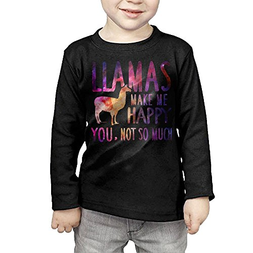 Llamas Make Me Happy You Not So Much Llamas Kids Children Unisex Long Sleeve Cotton Crew Neck T-Shirt Tee