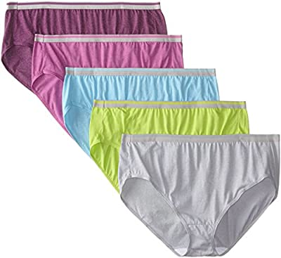 Fruit of the Loom Women's Plus Size Fit for Me 5 Pack Microfiber Hi-Cut Panties