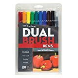 Tombow 56167 Dual Brush Pen Art Markers, Primary, 10-Pack