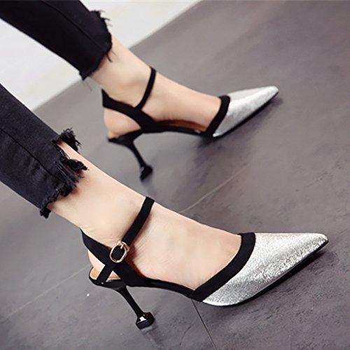 FLYRCX Temperamento mujer Tacones altos tacones altos superficialmente superficialmente delgadas sandalias de tacón silvery