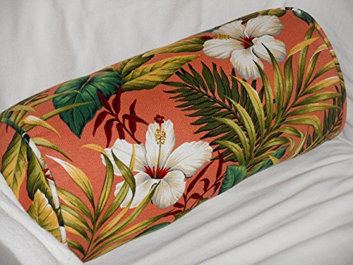 Hawaiian Cotton Barkcloth Fabric CORDED BOLSTER PILLOW ~Hibiscus Garden~